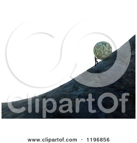 Clipart of a 3d Man Pushing a Giant Money Ball up a Hill over White - Royalty Free CGI Illustration by Mopic