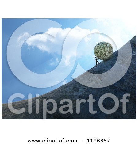 Clipart of a 3d Man Pushing a Giant Money Ball up a Hill Against Sky - Royalty Free CGI Illustration by Mopic