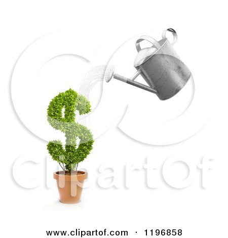 Clipart of a 3d Watering Can Pouring over a Dollar Symbol Plant - Royalty Free CGI Illustration by Mopic