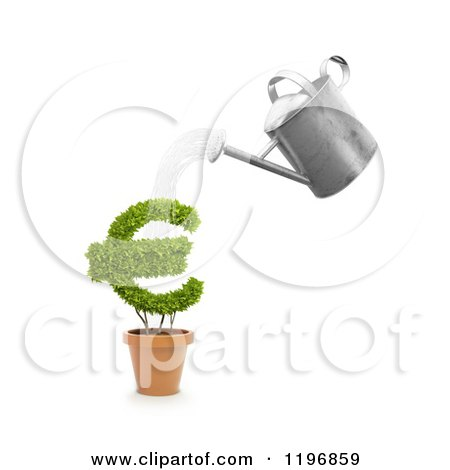 Clipart of a 3d Watering Can Pouring over a Euro Symbol Plant - Royalty Free CGI Illustration by Mopic