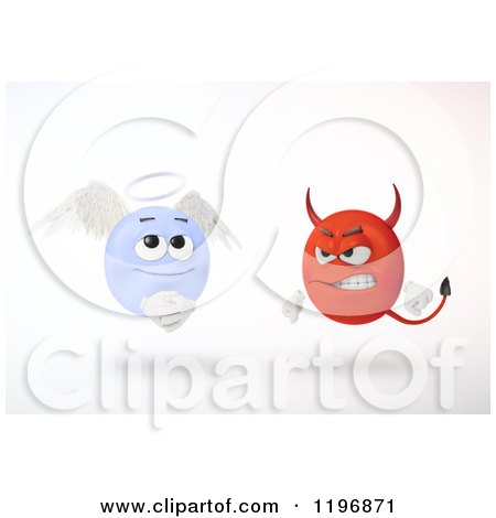 Clipart of 3d Angry Devil and Innocent Angel Emoticons Floating, over White - Royalty Free CGI Illustration by Mopic
