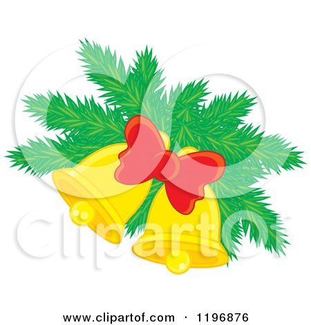 Cartoon of a Golden Christmas Bells with Pine and a Bow - Royalty Free Vector Clipart by Alex Bannykh