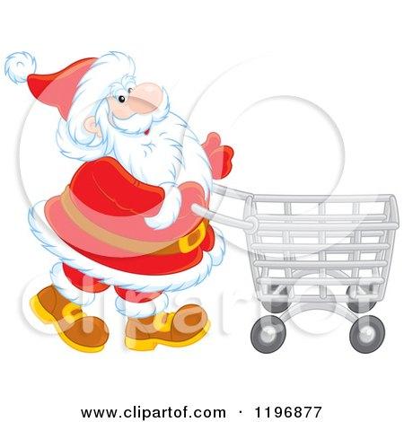 Cartoon of Santa Pushing a Shopping Cart - Royalty Free Vector Clipart by Alex Bannykh