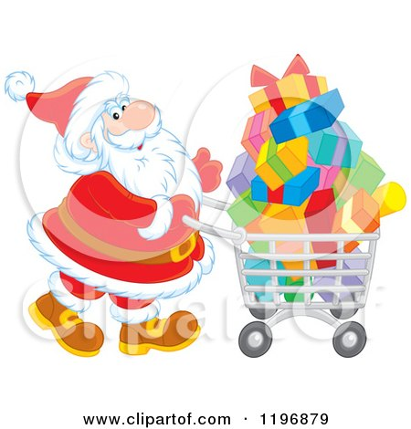 Cartoon of Santa Pushing a Shopping Cart Full of Gifts - Royalty Free Vector Clipart by Alex Bannykh