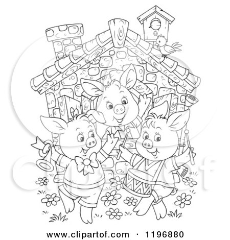 Cartoon of an Outline of the Three Little Pigs Dancing at a Cottage - Royalty Free Clipart by Alex Bannykh