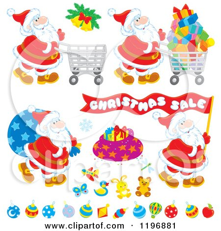 Cartoon of Christmas Toys Gifts and Santas - Royalty Free Vector Clipart by Alex Bannykh