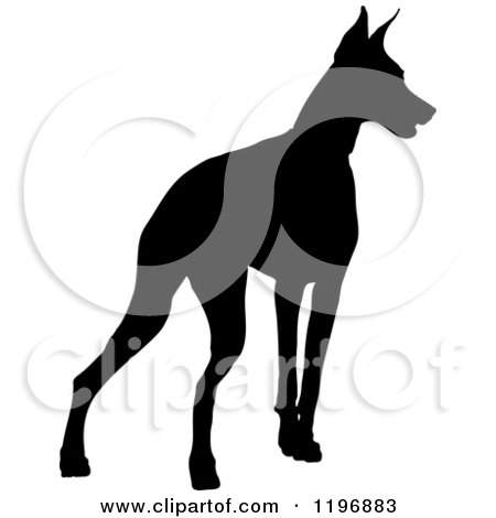 Clipart of a Black Silhouetted Doberman Pinscher Dog - Royalty Free Vector Illustration by Maria Bell