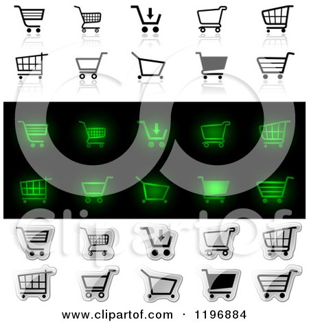 Clipart of Black and White and Glowing Green Shopping Carts - Royalty Free Vector Illustration by dero