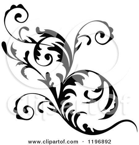 Clipart of a Black Flourish Design Element 7 - Royalty Free Vector Illustration by dero