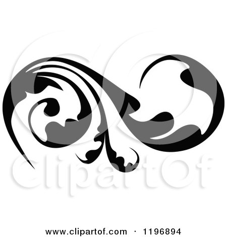Clipart of a Black Flourish Design Element 6 - Royalty Free Vector Illustration by dero