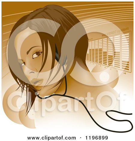 Clipart of a Woman Wearing Headphones, Looking over Her Shoulder over Lines and Equalizer Bars - Royalty Free Vector Illustration by dero