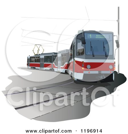 Clipart of a 3d Tram Way - Royalty Free Vector Illustration by dero