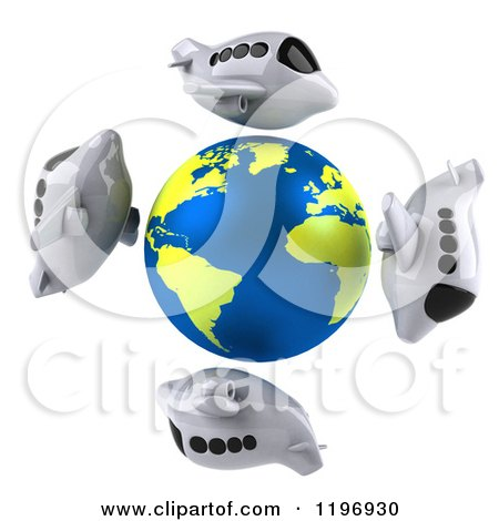 Clipart of 3d Airplanes Circling a Globe with the Atlantic Featured - Royalty Free CGI Illustration by Julos