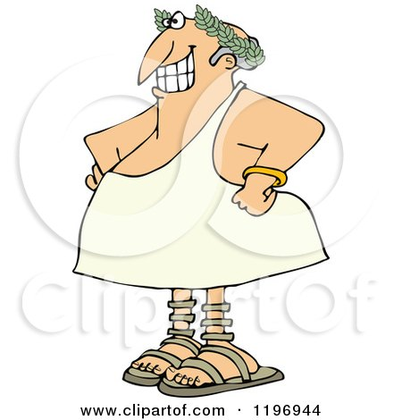 Cartoon of a Grinning Greek Man Wearing a Toga and Olive Branch - Royalty Free Vector Clipart by djart