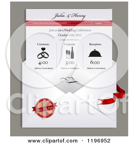 Clipart of a envelope and electronic wedding invitation with sample clipart of a envelope and electronic wedding invitation with sample text royalty free vector illustration by eugene stopboris