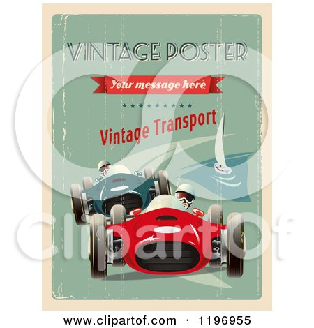 Clipart of a Retro Distressed Grand Prix Poster with Sample Text - Royalty Free Vector Illustration by Eugene