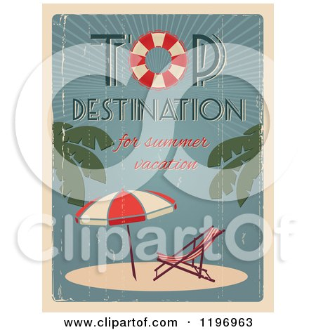 Clipart of a Retro Distressed Beach Furniture Summer Poster with Sample Text - Royalty Free Vector Illustration by Eugene
