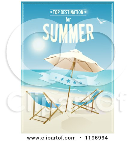 Clipart of a Beach Poster with Furniture a Banner And Sample Text - Royalty Free Vector Illustration by Eugene