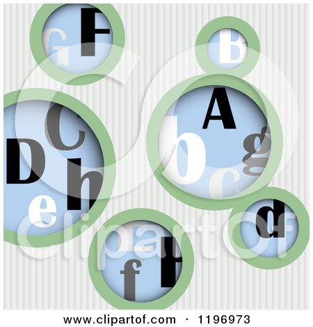 Clipart of a Background of Green and White Stripes and Letter Bubbles - Royalty Free Vector Illustration by Eugene