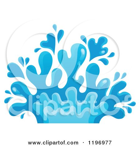 Cartoon of a Blue Water Splash - Royalty Free Vector Clipart by visekart