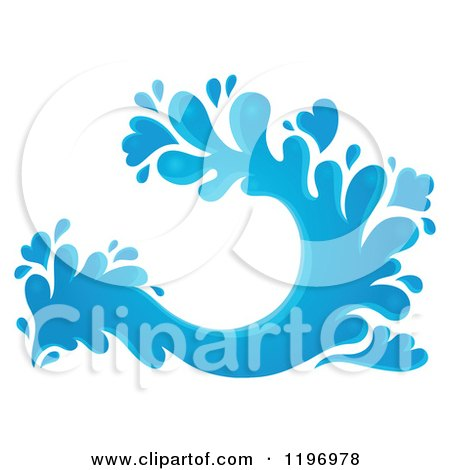 Cartoon of a Blue Water Splash 4 - Royalty Free Vector Clipart by visekart
