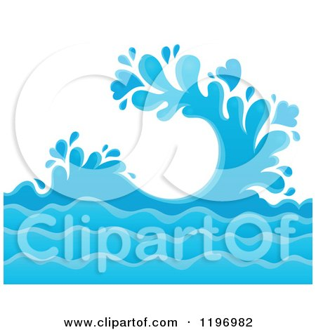 Cartoon of a Blue Ocean Splash and Surf Background - Royalty Free Vector Clipart by visekart