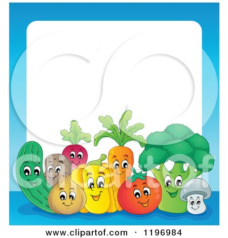 Cartoon of a Group of Happy Vegetables with a Blue Border and White Text Space - Royalty Free Vector Clipart by visekart