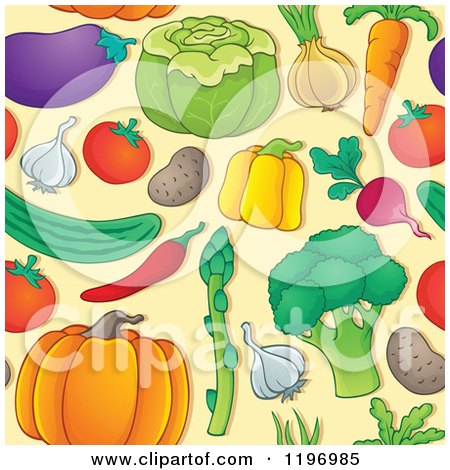 Cartoon of a Seamless Pattern of Colorful Vegetables on Tan - Royalty Free Vector Clipart by visekart