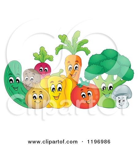 Cartoon of a Group of Happy Veggies - Royalty Free Vector Clipart by visekart