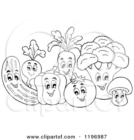 Cartoon of a Group of Outlined Happy Vegetables - Royalty Free Vector Clipart by visekart