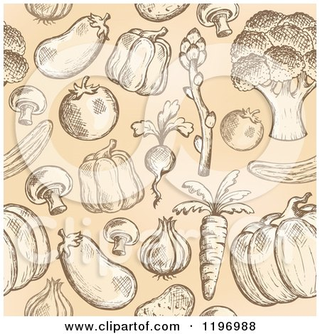 Cartoon of a Seamless Pattern of Sketched Vegetables on Tan - Royalty Free Vector Clipart by visekart