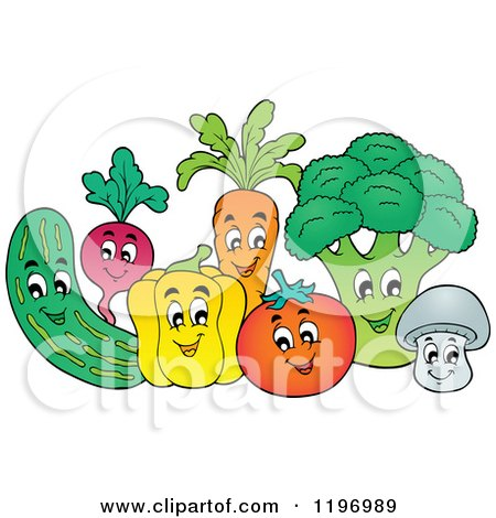 Cartoon of a Group of Happy Vegetables - Royalty Free Vector Clipart by visekart