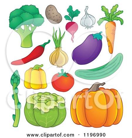 Cartoon of Healthy Vegetables - Royalty Free Vector Clipart by visekart