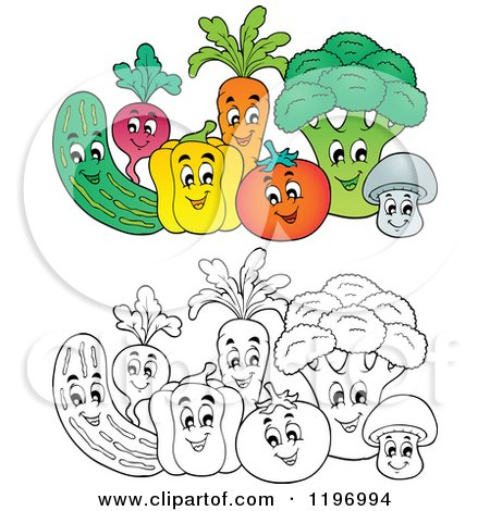 Cartoon of Groups of Colored and Outlined Happy Vegetables - Royalty Free Vector Clipart by visekart