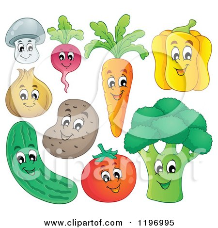 Cartoon of Happy Veggies - Royalty Free Vector Clipart by visekart