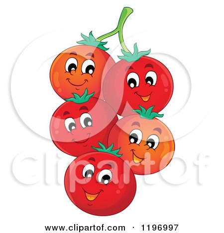 Cartoon of Happy Red Tomatoes on the Vine - Royalty Free Vector Clipart by visekart