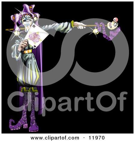 Purple Renaissance Joker Holding a Card Posters, Art Prints