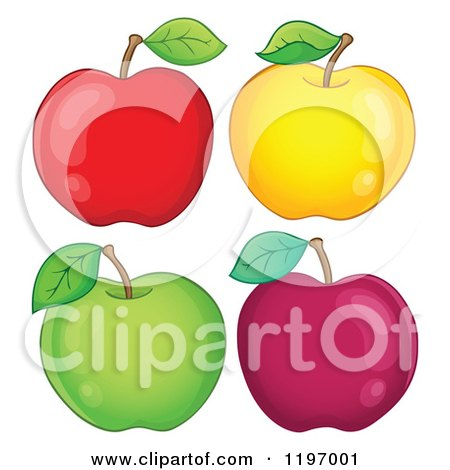Cartoon of Red Yellow and Green Apples - Royalty Free Vector Clipart by visekart
