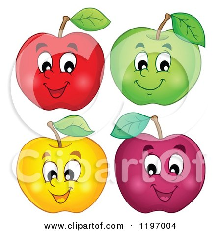 Cartoon of Happy Colorful Apples - Royalty Free Vector Clipart by visekart
