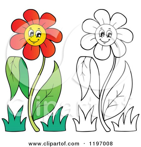 Cartoon of Happy Red and Outlined Daisy Flowers on a Stem - Royalty Free Vector Clipart by visekart