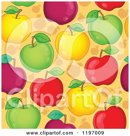 Cartoon of a Seamless Colorful Apple Background Pattern - Royalty Free Vector Clipart by visekart