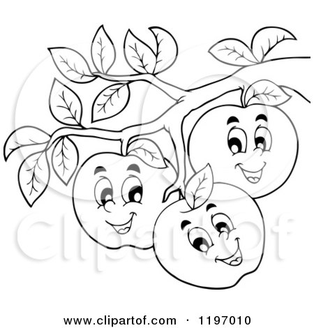 Cartoon of Happy Outlined Apple Characters on a Tree - Royalty Free Vector Clipart by visekart