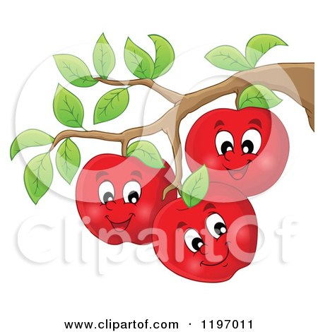 Cartoon of Happy Red Apple Characters on a Tree - Royalty Free Vector Clipart by visekart