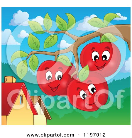 Cartoon of Happy Red Apple Characters on the Tree - Royalty Free Vector Clipart by visekart