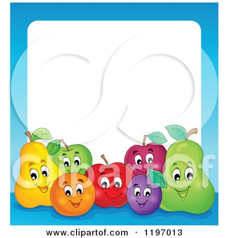 Cartoon of a Group of Happy Fruit and a Blue Frame Around White Text Space - Royalty Free Vector Clipart by visekart