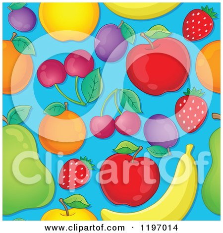 Cartoon of a Seamless Pattern of Fruit over Blue - Royalty Free Vector Clipart by visekart