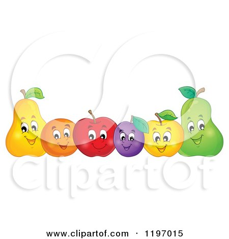 Row of Happy Fruit Posters, Art Prints