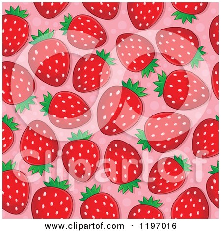 Cartoon of a Seamless Strawberry Pattern Background - Royalty Free Vector Clipart by visekart