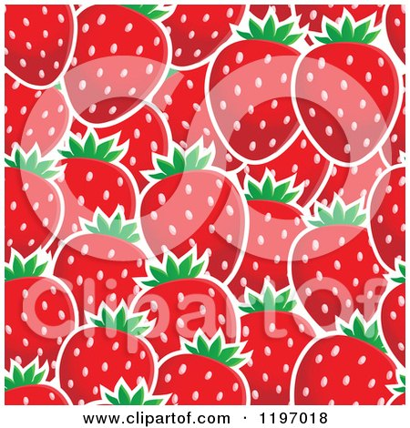 Cartoon of a Seamless Red Strawberry Pattern Background - Royalty Free Vector Clipart by visekart