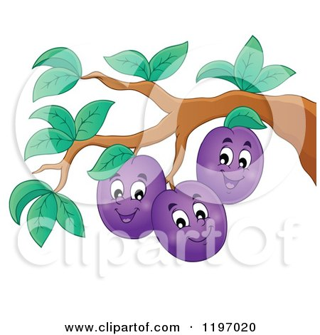 Cartoon of Happy Plums on a Tree - Royalty Free Vector Clipart by visekart
